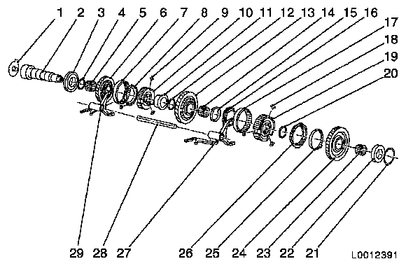 location of components in upper main shaft assembly