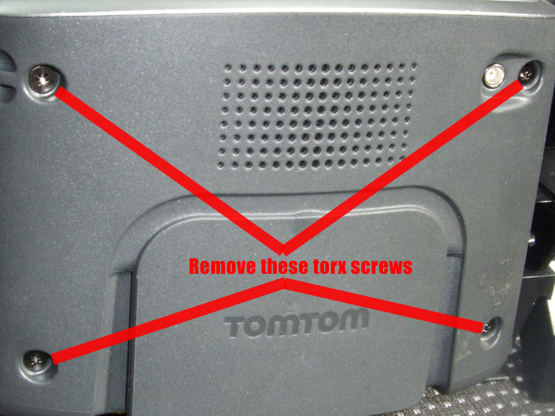 Take the tomtom apart, remove the screws indicated and carefully prise the back of the case off.